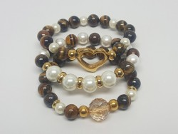 Stainless Steel and Natural Stone Bracelets Set for Women