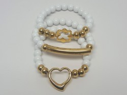 Stainless Steel and Natural Stone Bracelet Set for Women